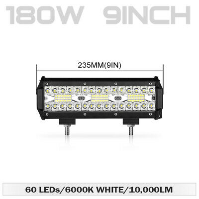"Tri-Row 10 Inch 180W LED Work Light Bar Flood Spot Driving Lamp Off-Road 10"" 12"""