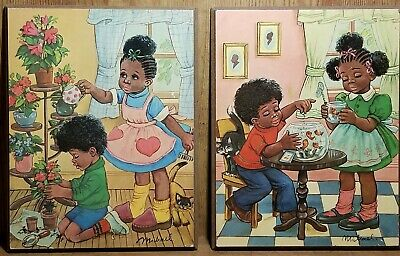 """Pair Of Vintage African American Children Wall Plaques~Wall Art~ 7 3/4""""W × 10H"""