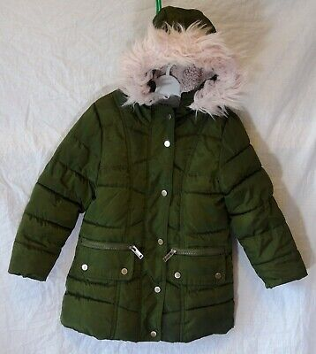 Girls Primark Green Pink Faux Fur Trimmed Puffa Padded Parka Coat Age 3-4 Years