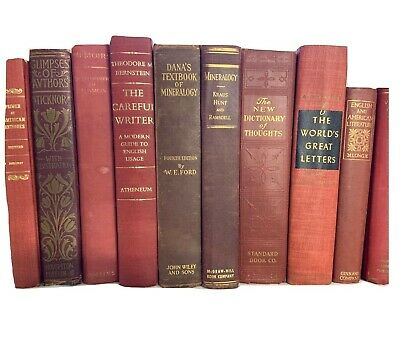 Lot 5 RED / Shades of RED Old Vintage Antique Decor Hardcover Random Books