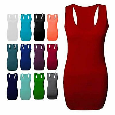 Ladies Womens Long Racer Back Bodycon Muscle Vest Top Gym Top All Plus Sizes*Rcr