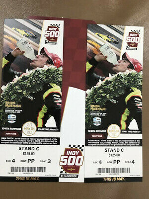 Two 2020 Indy 500 Tickets--Great Visibility In Row Pp, Stand C., Under Cover