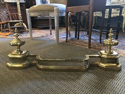 Turn of the Century Brass Adjustable Fireplace Fender Hearth Ware