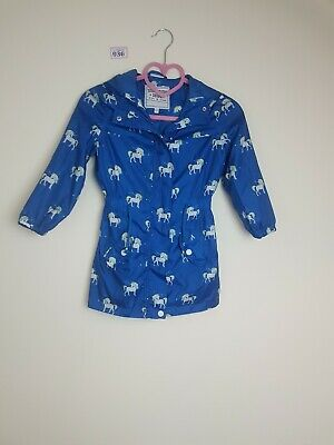 Girls 5-6 Light Thin Blue Unicorn Jacket From Marks And Spencers