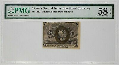 Second Issue Fractional Currency 5 Cents Fr.1232 Pmg 58 Ch About Unc Epq (053)