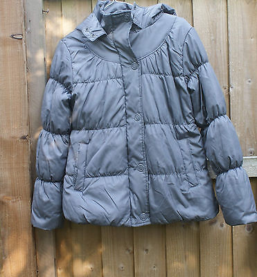 M&S grey puffer hooded  jacket age 11- 12 yrs