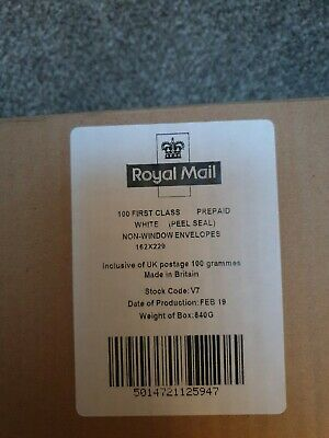 Royal Mail First Class Prepaid White Non Window Envelopes pack of 100