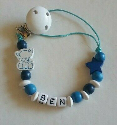 Baby Boy White & Blue Elephant Personalised Wooden Dummy Clip/Toy Holder Clip