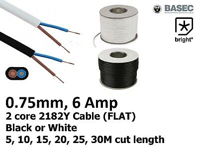 6 Amp 0.75mm Flat Cable Flex 2 core 2192Y Black White Electrical Wire Light