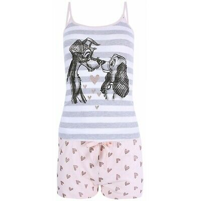 Disney Lady & The Tramp Grey Striped Top & Shorts Pyjama Set Ladies Pj Primark