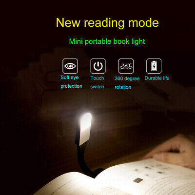 USB Rechargeable Reading Sensing LED Light Flexible Clip On Book Light Night