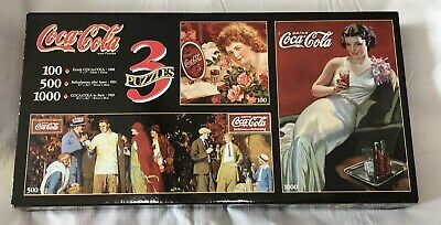 Coca Cola 3 Jigsaw Puzzles In 1 Box 100 500 1000 Pieces #91730 Vtg 1993 SEALED