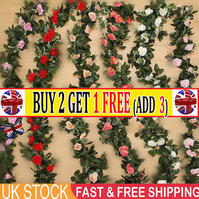 2X8Ft Artificial Rose Garland Silk Flower String Vine HH Wedding Garden Decor-AR
