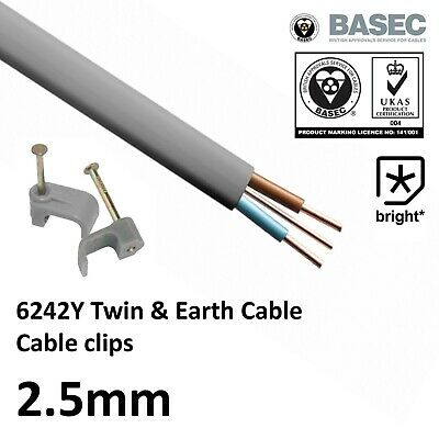 OFFER 2.5mm Twin and Earth 6242Y Cable Wire Electric Socket T&E Lights Mains