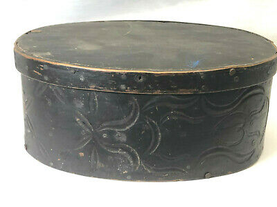 Antique Sailor Made Black Oval Covered Pantry Box Carved Heart