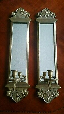 "Vintage Brass Wall Sconces Candle Holders PAIR (24"" tall)"