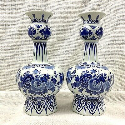Pair of Antique Delft Pottery Blue White De Porceleyne Fles Hand Painted Signed