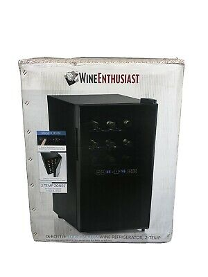 Wine Enthusiast Wine Cooler 18-Bottle Dual Zone Digital Touchscreen Display LED