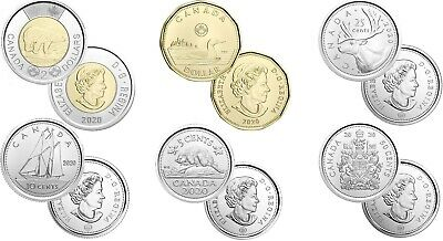 Brilliant Uncirculated 2020 Canada 6 Coins From Mint's Rolls