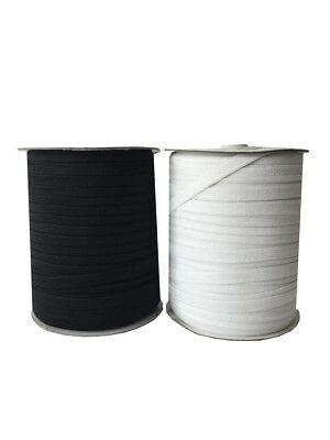 10mm 1cm BLACK WHITE STRETCH ELASTIC FLAT WAIST BAND CUFFS SOFT (1 x Roll 150m)