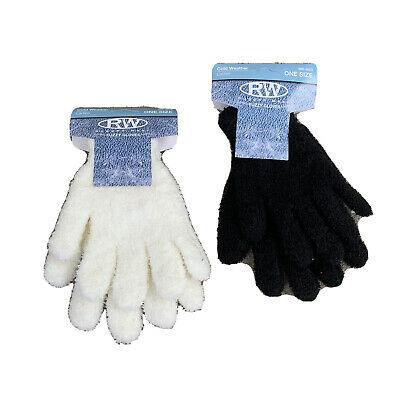 RW Rugged Wear Fuzzy Gloves Adult Ladies Womens One Size Ivory Black Set Of Two