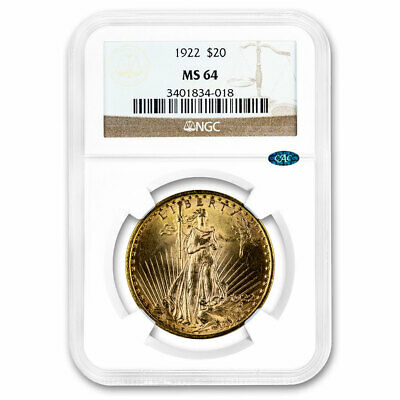 1922 $20 Saint-Gaudens Gold Double Eagle MS-64 NGC CAC - SKU#211748