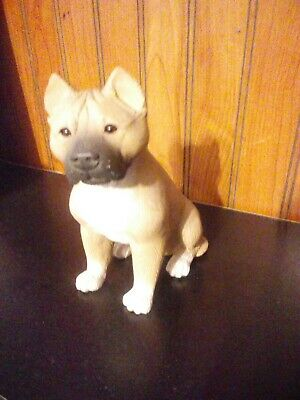 """Staffordshire""""Pit Bull""""Terrier Marble Statue/Dog Figurine Stone Sculpture 5.5"""""""