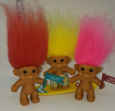 Lot Of 2 Vintage Mini Russ Trolls New Old Stock Troll friends Red Pink Hair