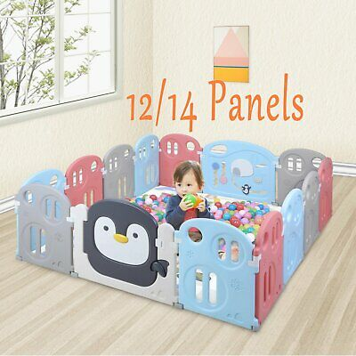 12/14 Panel Baby Safety Play Yards Kids Foldable Playpen Activity Center Fence