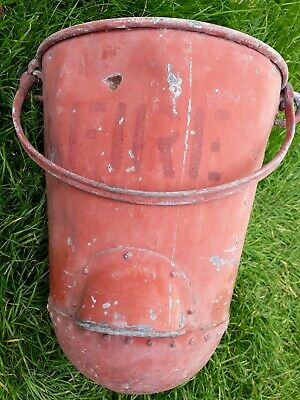 vintage red metal rivetted genuine fire buckets, domed fire buckets