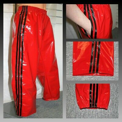 4XL Black Red NOW WITH POCKETS PVC Track Pants Bottoms S