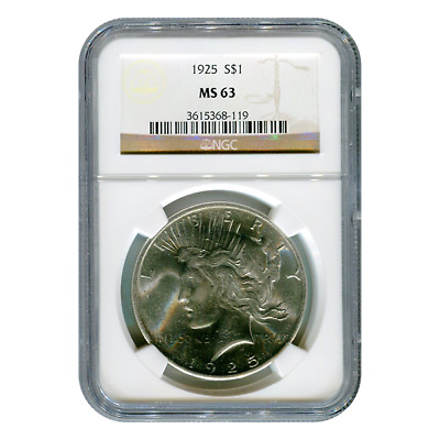 Certified Peace Silver Dollar 1925 MS63 NGC