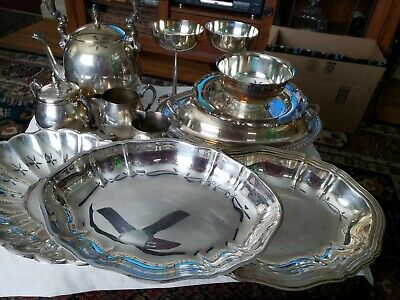 12 Piece Lot of Vintage Silver Plate,Trays, Teapot, Serving Dishes, Etc.