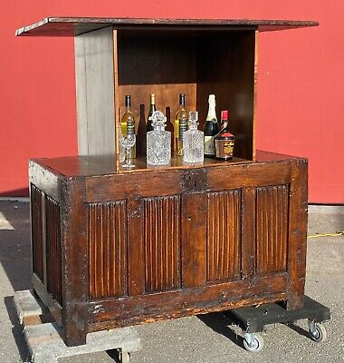 Antique Linenfold Coffer Chest Motorized Remote Controlled Hidden Bar TV Cabinet