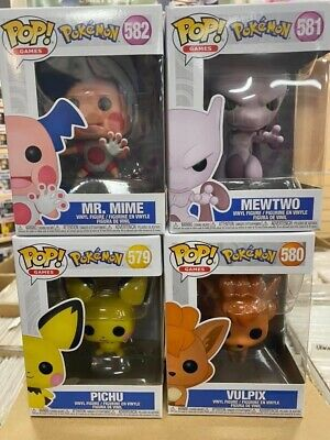 "Funko Pop Pokemon Set of 4 : Vulpix, Mr. Mime, Pichu & Mewtwo Vinyl ""MINT"""
