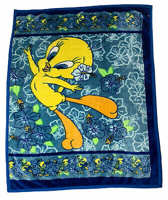 Looney Tunes Tweety Bird Tropical Throw Blanket Plush Blue Fleece Lovey 52 x 42""