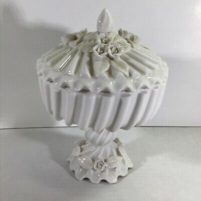 Antique Milk White Porcelain Hand Made Flowers Applied Candy Dish/Compote Swirl