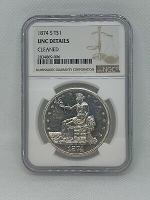 1874-S Trade Silver Dollar T$1 - NGC Uncirculated Details!