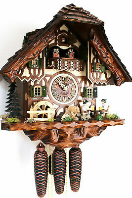 cuckoo clock hettich black forest 8 day original germany music beer drinker NEW