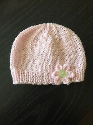 Hand Knitted Baby Girls Sparkle Hat 0-3 Months