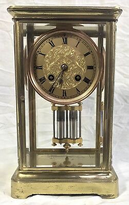 ~ Antique French Four Glass Brass Striking Bracket Mantel Clock Japy Freres