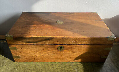 Antique 19th Century Mahogany Brass Mounted Writing Slope With Secret Drawers