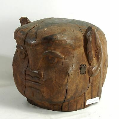 Unusual Unidentified Carved Wooden Head Asian? African? South Seas?