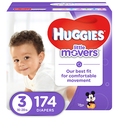 HUGGIES LITTLE MOVERS Active Baby Diapers, Size 3 (fits 16-28 lb.), 174 Ct