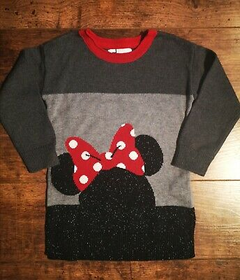 GAP Girls Grey Knitted Minnie Mouse Jumper Dress Age 3 Years 2-3 3-4 Long Sleeve
