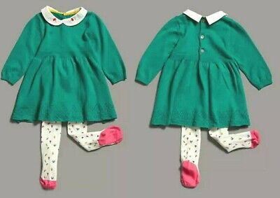M&S Baby Girls Green Collar Floral Embroidered Dress Tights Set Age 12-18 Months