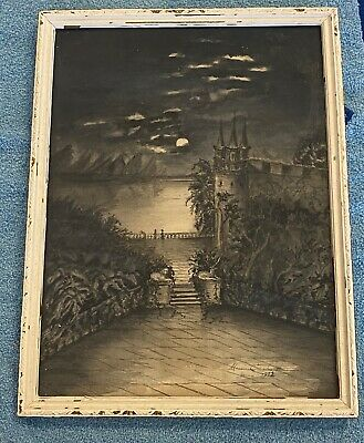 """Original 1952 Signed Watercolor Landscape Painting Nighttime Water Castle 13"""""""