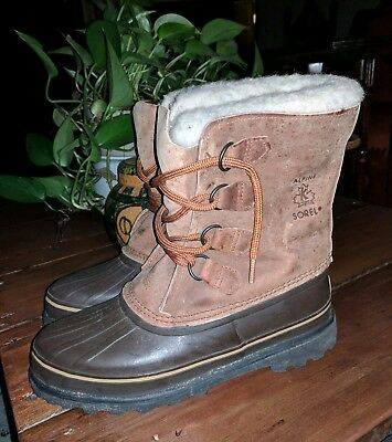 Sorel Alpine Ladies Leather Winter Duck Hunting Boots Wool Liners Brown 9 M