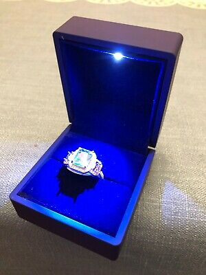 Powerful LED Light Engagement / Wedding Ring Box for Proposal Royal Blue