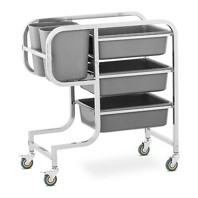 Stainless Steel Bus Cart Service Trolley With 3 Bus Tubs 2 Rubbish Bins 100kg
